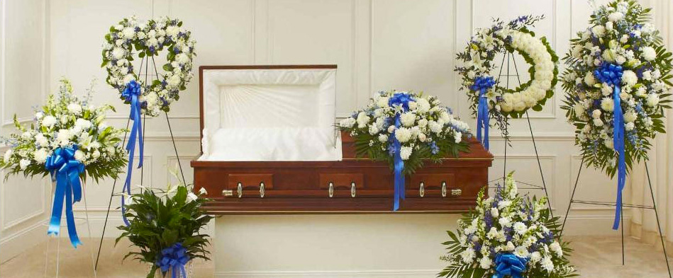 Blue Sympathy Funeral Flower Arrangements