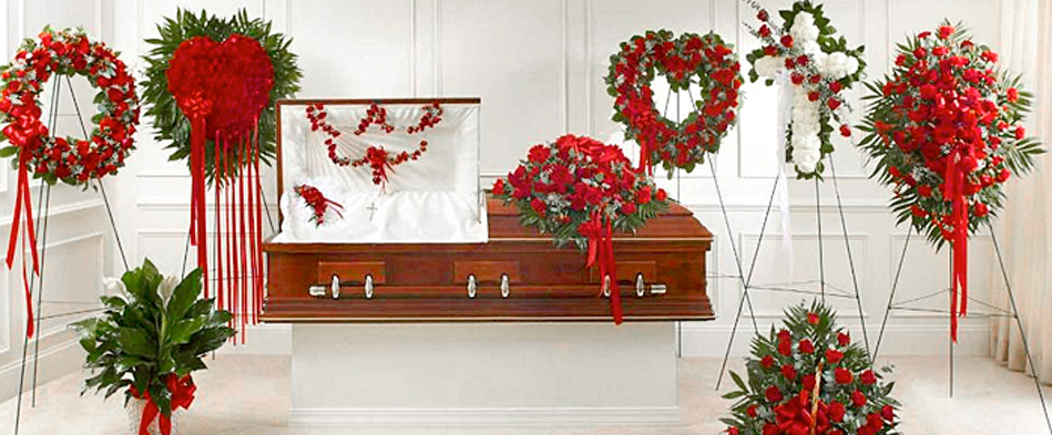 Red Sympathy Funeral Flower Arrangements
