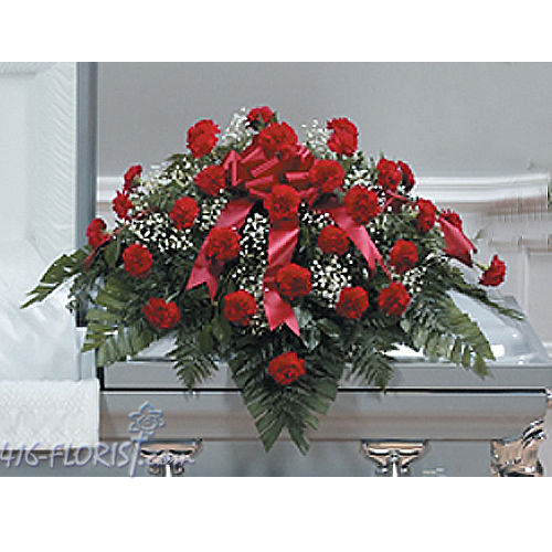 Carnation Casket Funeral Flowers Arrangement