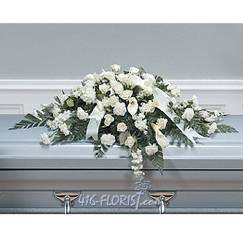White Calla Casket Spray
