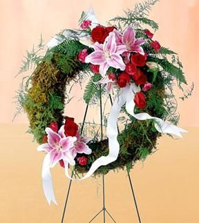 Lily and Roses Funeral Wreath