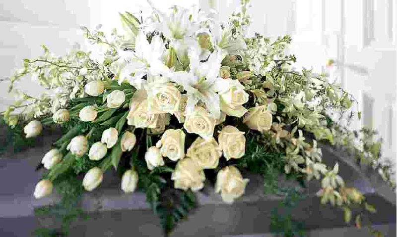 White Tribute Casket Flowers