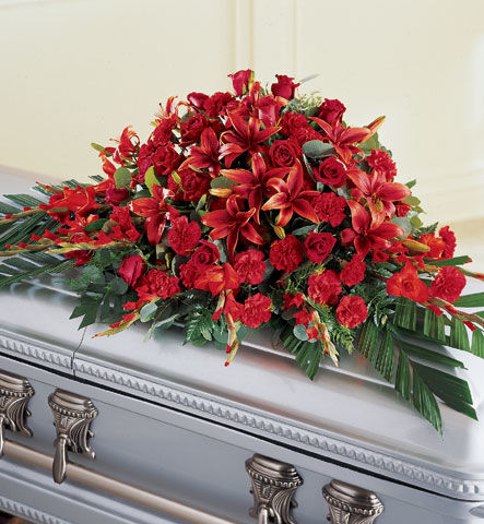 Red Splendor Funeral Casket Flowers