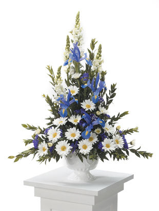 Blue Sympathy Funeral Flower Arrangements