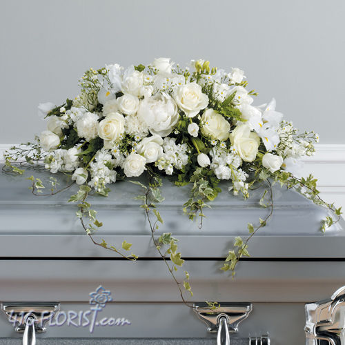 Pure White Funeral Casket Spray
