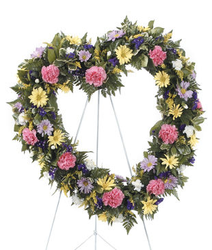 Heart Shaped Standing Funeral Wreath