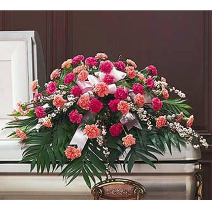 Colorful Carnation Funeral Casket Flower Spray