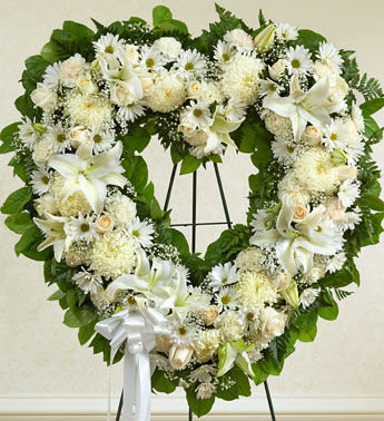Angelic All White Flowers Heart Wreath