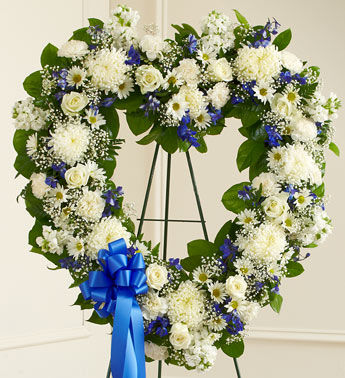 Blue and White Heart Funeral Wreath