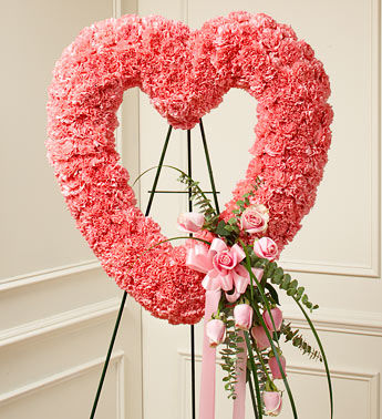 Pinkish Funeral Heart Wreath