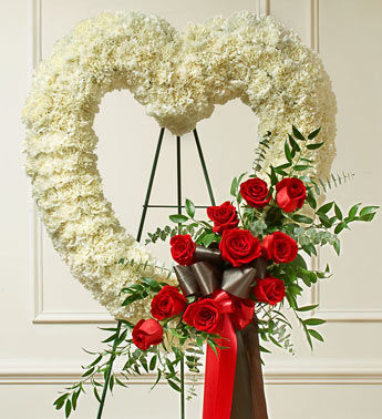 Red Heart Wreath Flowers