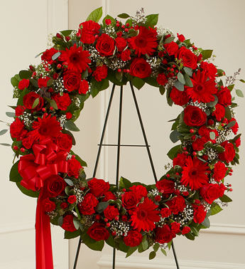 Classic Red Wreath for a Funeral Home