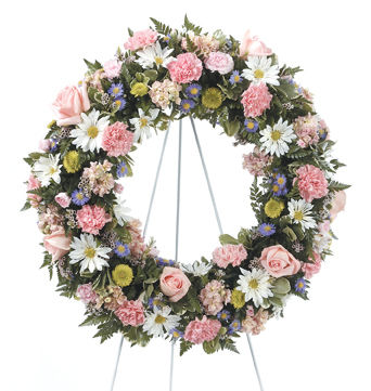 Pretty Pink and White Funeral Wreath