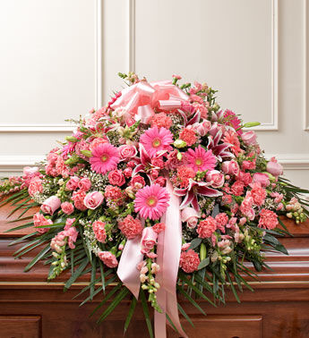All Pink Funeral Casket Arrangements