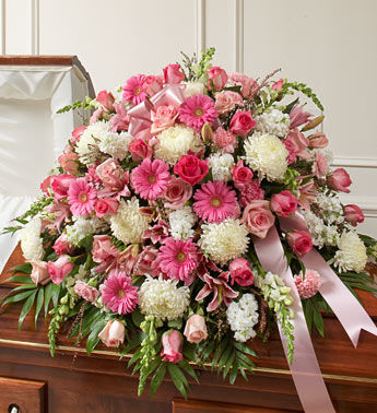 Pink and White Sympathy Casket Flowers