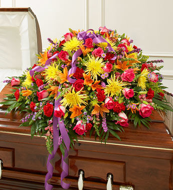 Vivacious Funeral Casket Flowers Spray