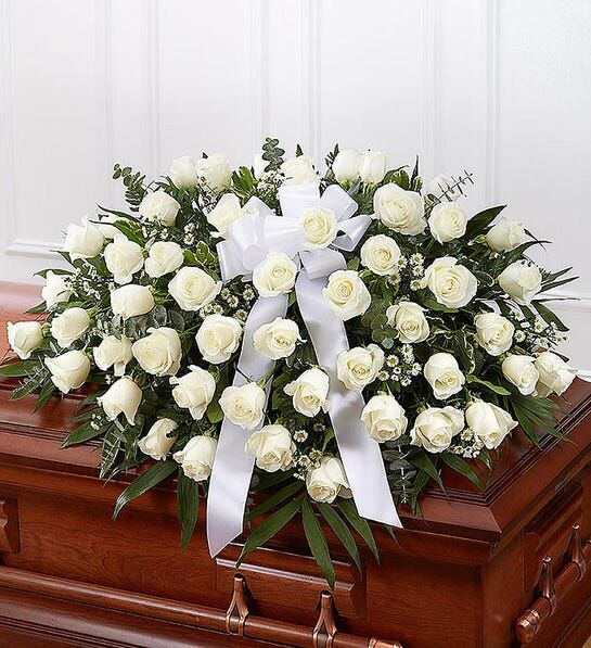 Humble Rose Casket Funeral Flowers