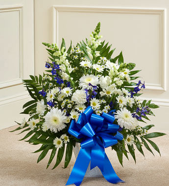 Deepest Sympathies Blue and White Flowers