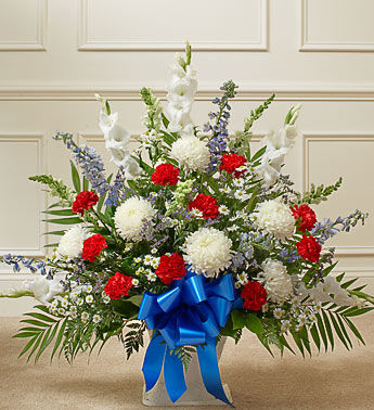Blue Bow Funeral Basket