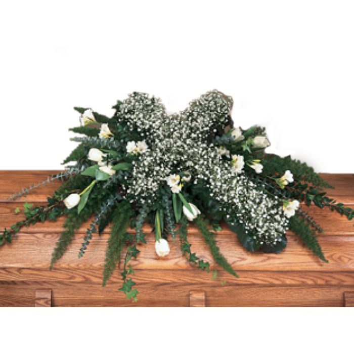 White Casket Spray with Cross