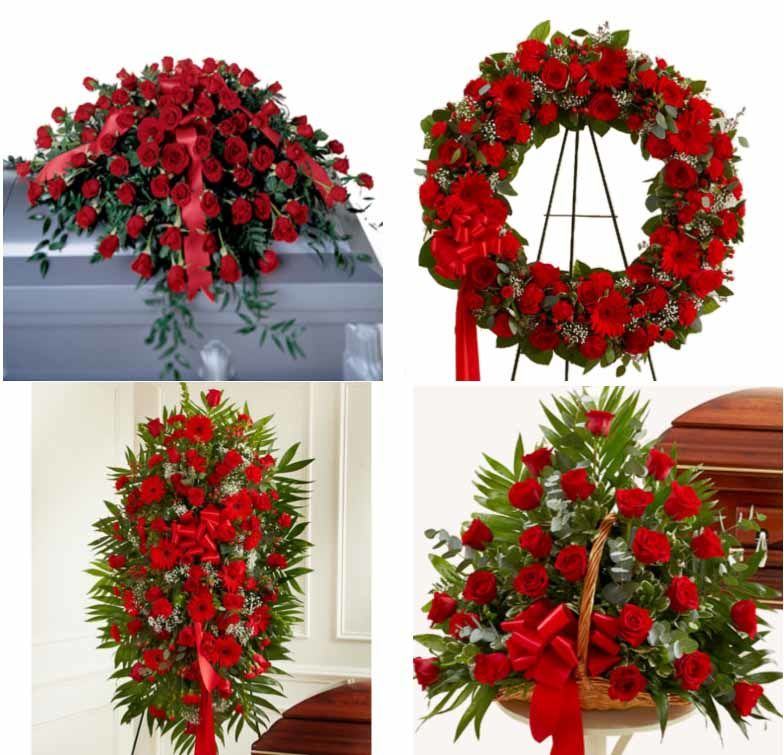 Bold Red Funeral Flower Package